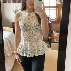 Lace Button Down Peplum Top